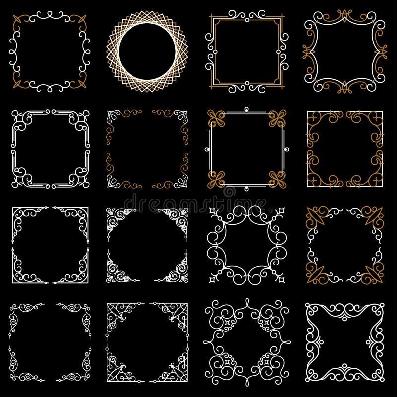 Fastställda dekorativa tappningramar i den mono linjen stil Abstrakt vektorillustration för din design och logo Samling av stock illustrationer