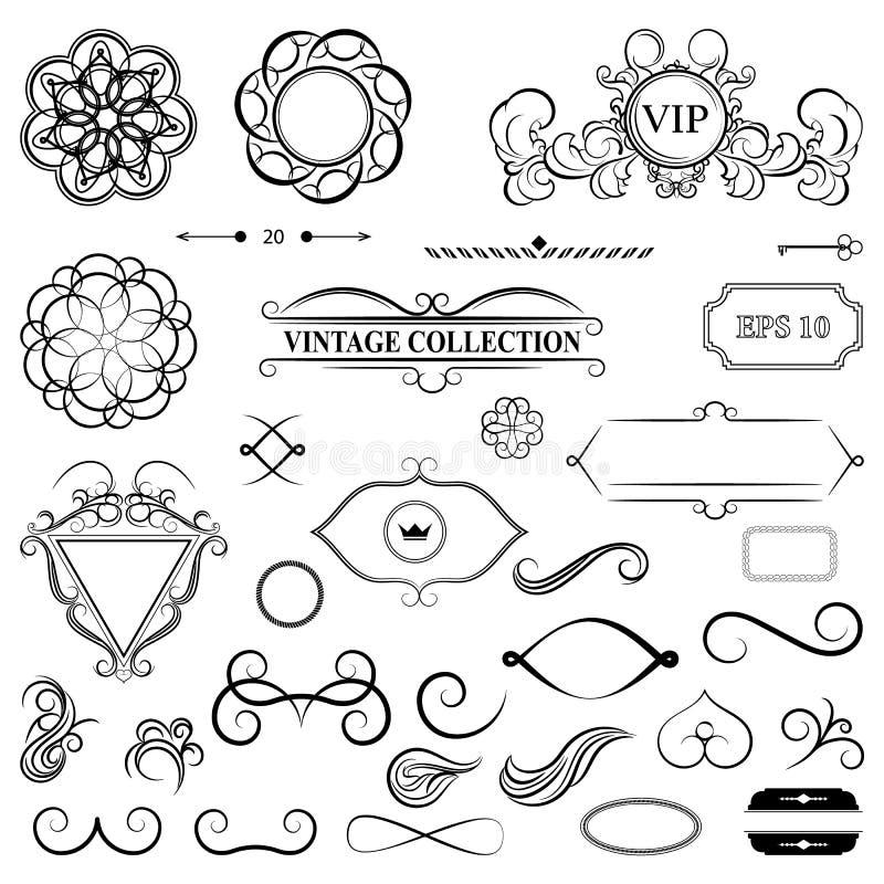 Fastställda dekorbeståndsdelar för tappning för meny Gammal hand för elegans som drar s stock illustrationer