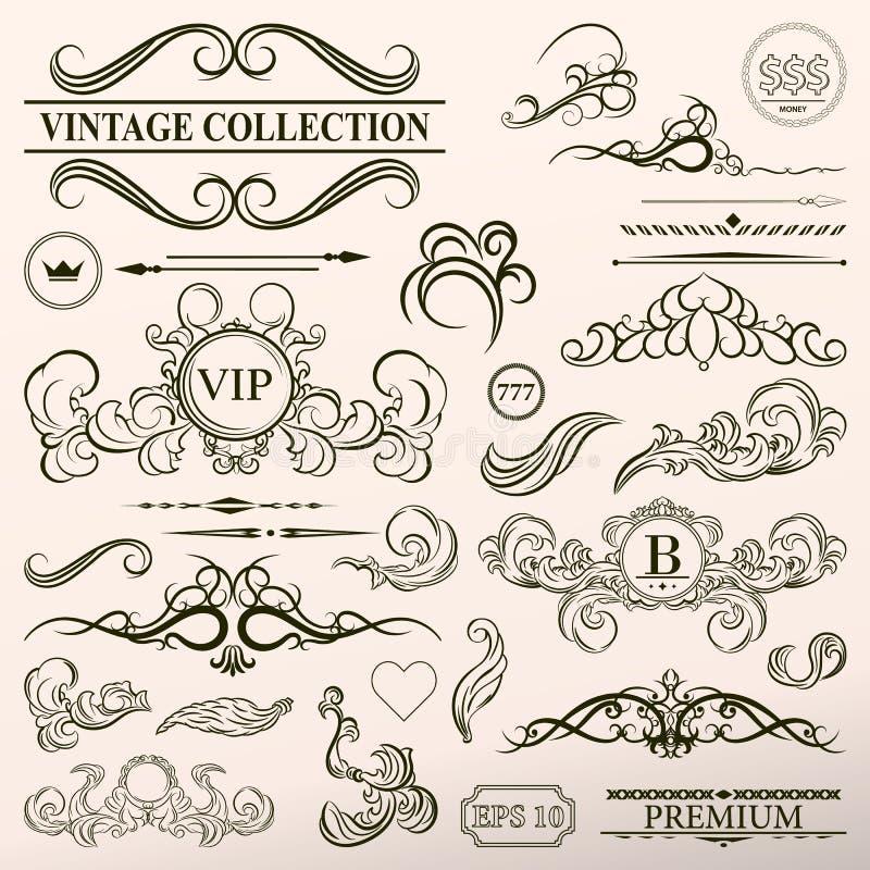 Fastställda dekorbeståndsdelar för tappning Uppsättning för teckning för gammal hand för elegans Outli stock illustrationer