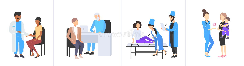 Fastställda doktorer som undersöker längd för olik för medicinsk konsultation för patienter plan full för medicin för sjukvård sa stock illustrationer
