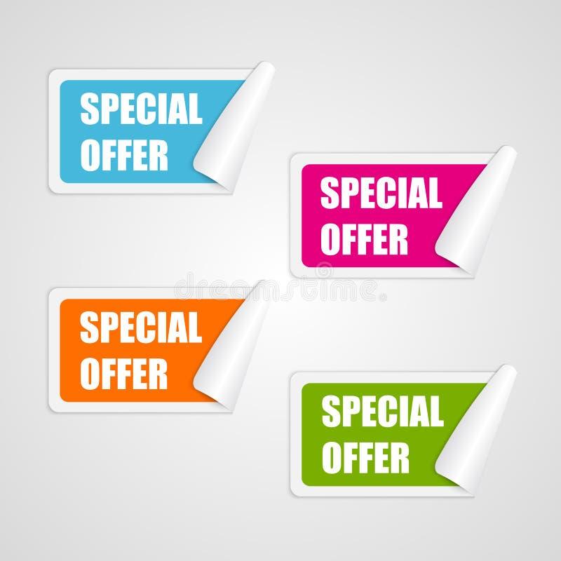 Fastställda färgrika fyrkantiga klistermärkear för specialt erbjudande stock illustrationer