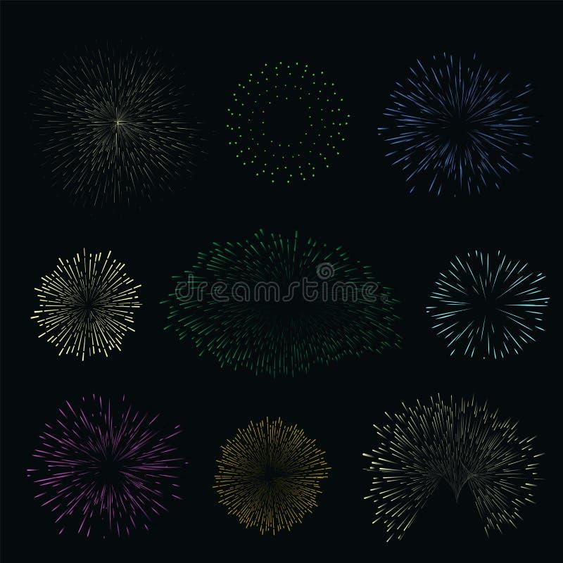 Fastställda färgrika fyrverkerier på mörk bakgrund Honnör för natthimmel för stock illustrationer