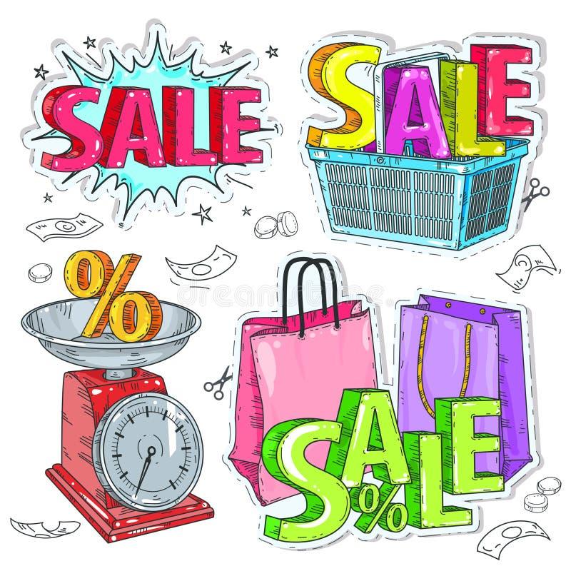 Fastställda färgrika objekt för handel, inskriften av försäljningen, jämvikten med intresse, packar och shoppingkorg vektor illustrationer