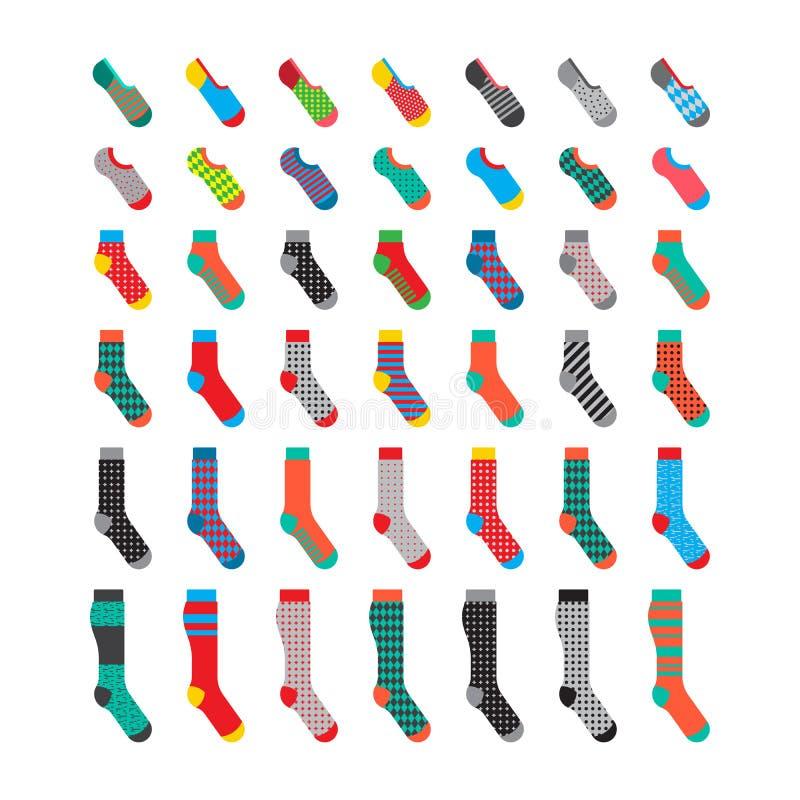 Fastställda färgrika sockor vektor illustrationer