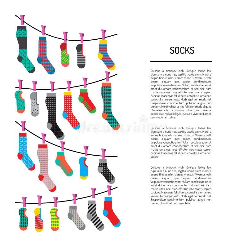 Fastställda färgrika sockor stock illustrationer