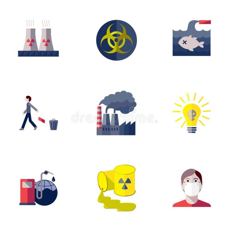 Fastställda föroreningsymboler royaltyfri illustrationer