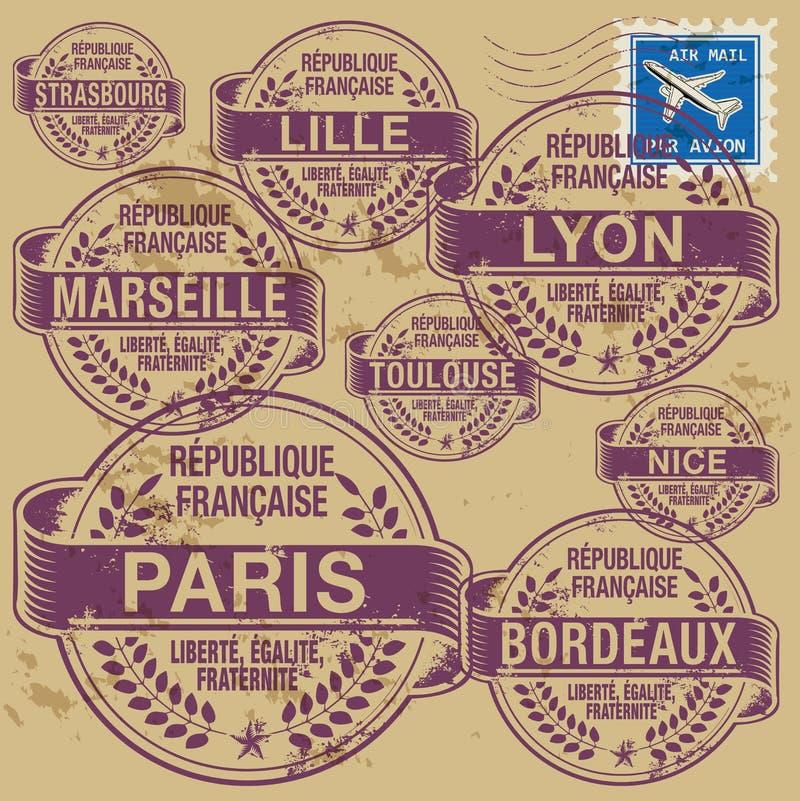 Fastställda Frankrike för stämpel städer vektor illustrationer