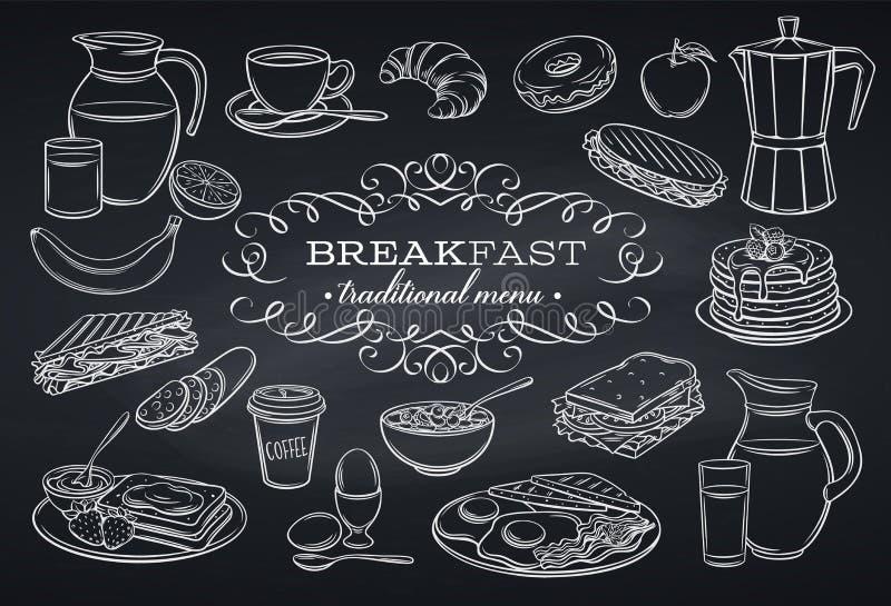 Fastställda frukostsymboler på den svart tavlan vektor illustrationer