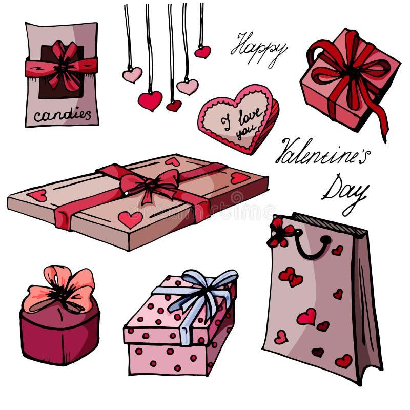 Fastställda gåvor för valentin dag stock illustrationer