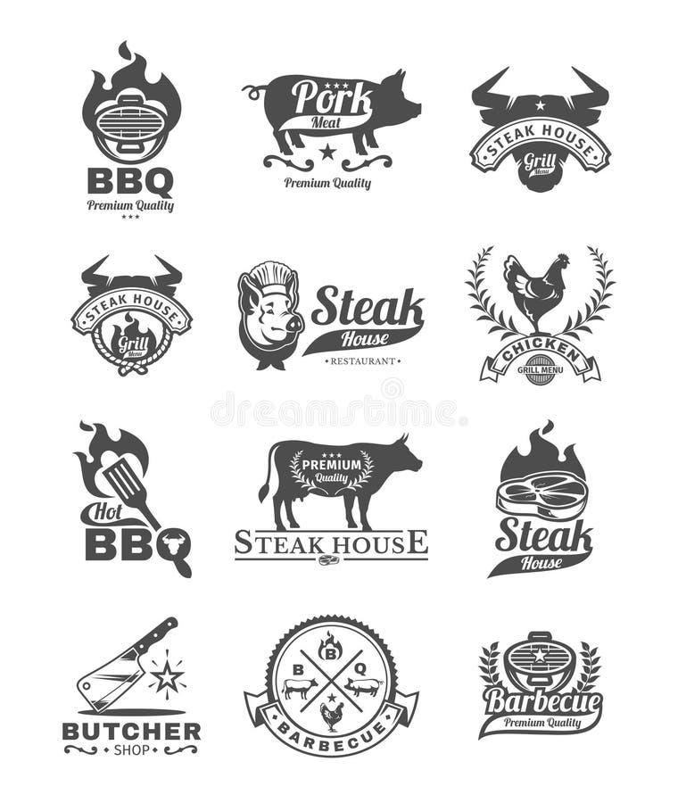 Fastställda galler- och grillfestemblem, klistermärkear, emblem vektor illustrationer