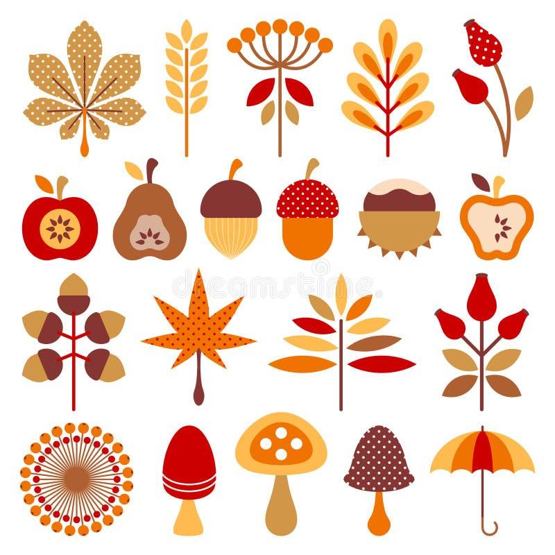Fastställda grafiska Autumn Icons Brown Orange Red vektor illustrationer