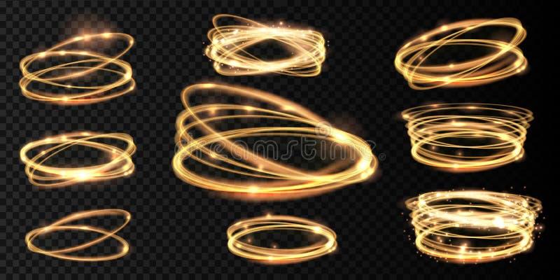 Fastställda guld- glödande skinande spirallinjer och ljus effekt för cirkel Den abstrakta glödande ljusa brandcirkeln spårar vektor illustrationer
