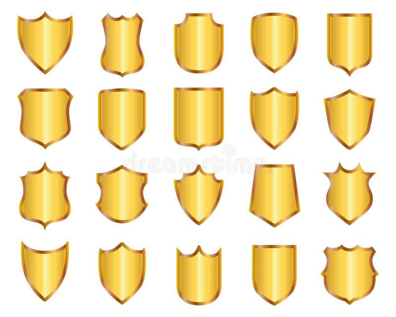 Fastställda guld- sköldar - vektor vektor illustrationer