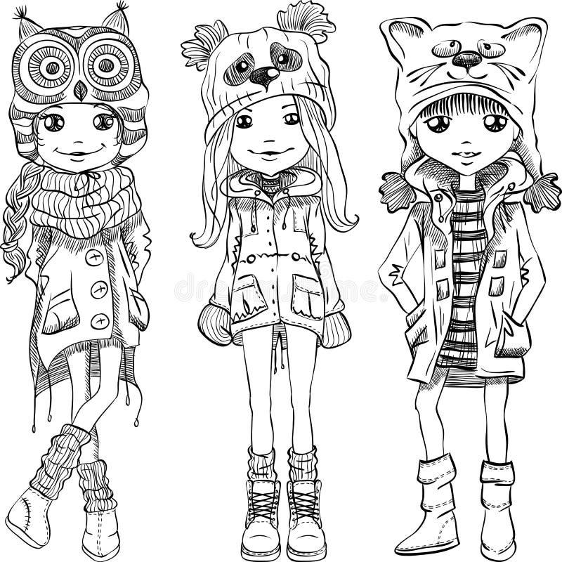 Fastställda gulliga flickor för vektor i roliga hattar royaltyfri illustrationer