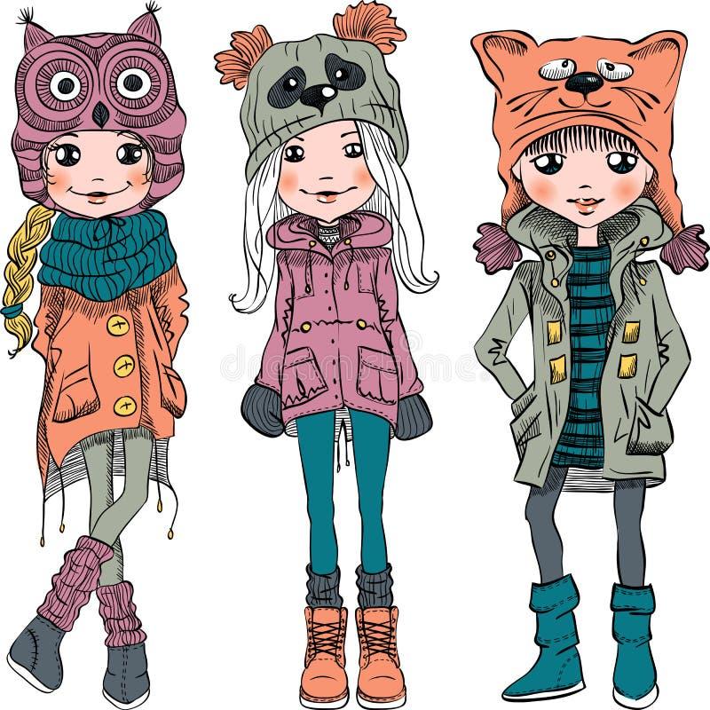 Fastställda gulliga flickor för vektor i roliga hattar stock illustrationer