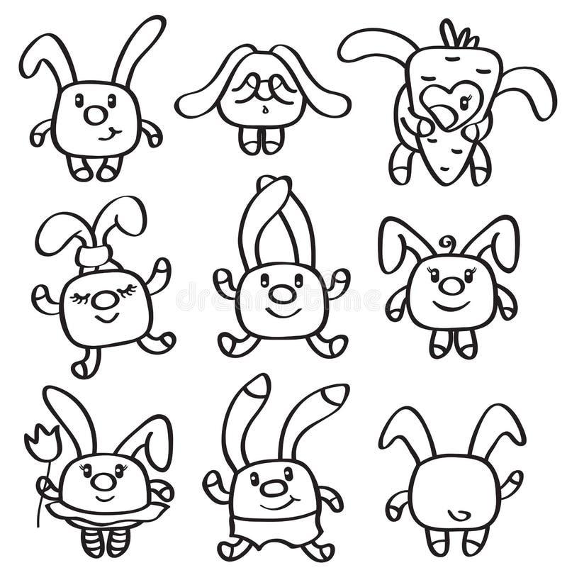 Fastställda gulliga kaniner för vektor vektor illustrationer