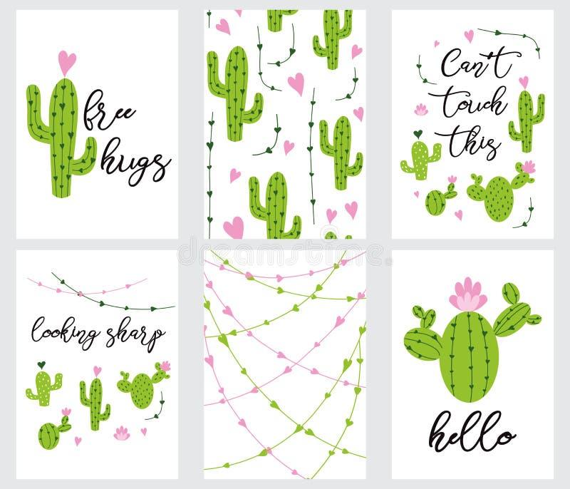 Fastställda gulliga klar-till-bruk gåvaetiketter med den tryckbara samlingen för kaktus av handen som dras i gröna färger stock illustrationer