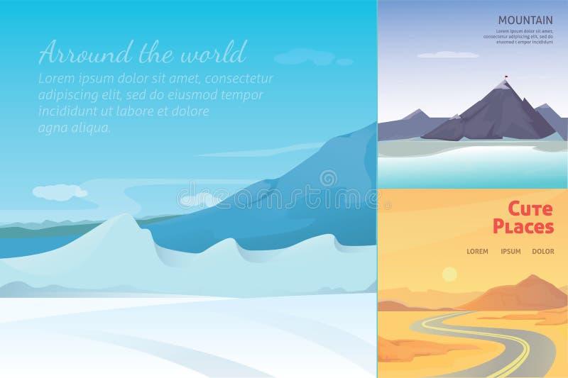 Fastställda gulliga tecknad filmlandskap med berget vektorsamling av naturen royaltyfri illustrationer