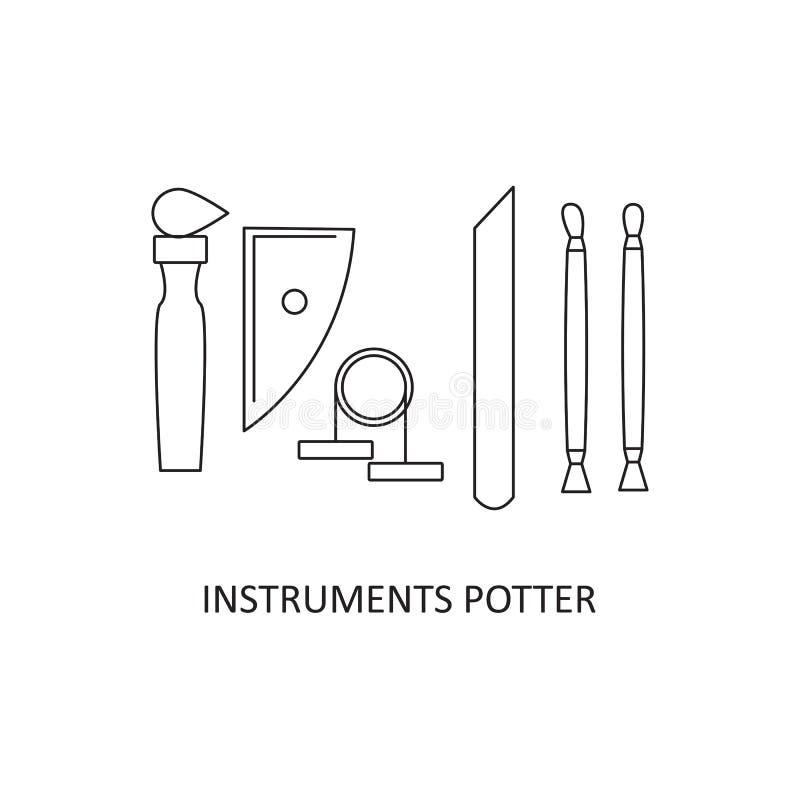 Fastställda hjälpmedel för keramiker` s hantverk royaltyfri illustrationer