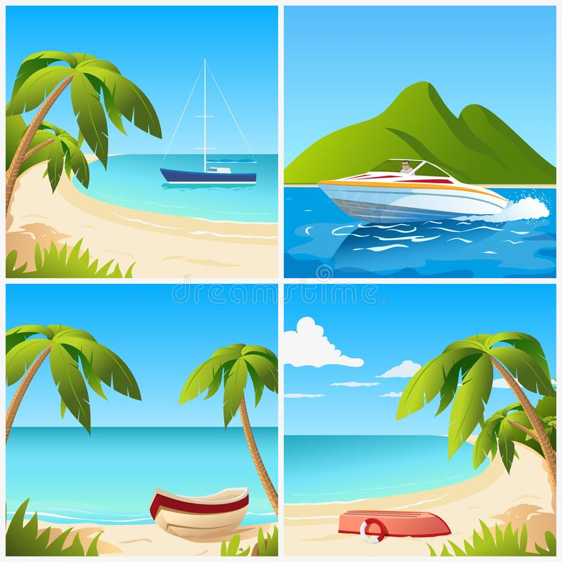 Fastställda illustrationer av en strandsikt med fartyget arkivfoto
