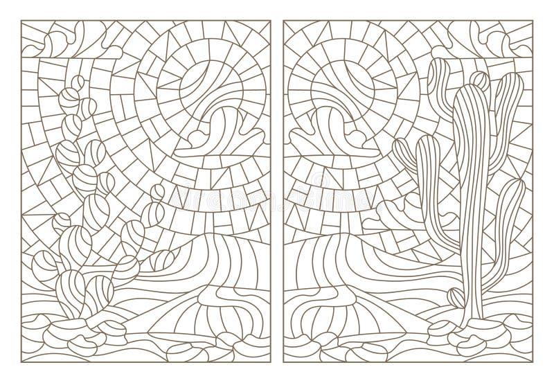 Fastställda illustrationer för kontur av målat glass med ökenlandskap, kaktuns i ett landskap av dyn och himmel stock illustrationer