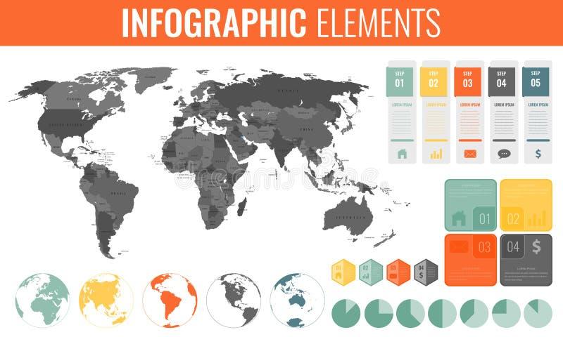 Fastställda Infographic beståndsdelar Världskarta, markörer, diagram och andra beståndsdelar Affär Infographic vektor stock illustrationer