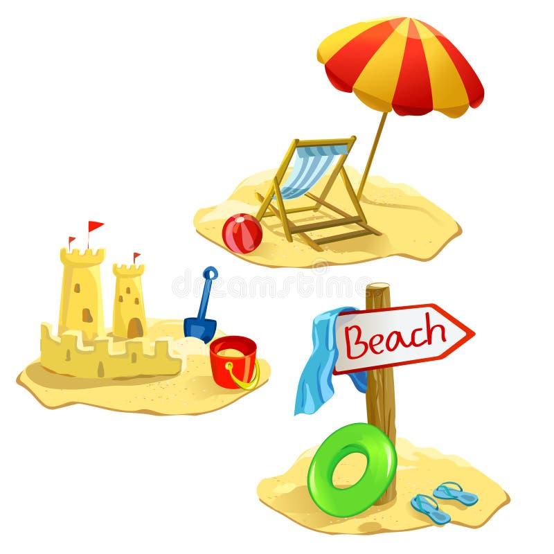 Fastställda isolerade strand- och rekreationsymboler stock illustrationer