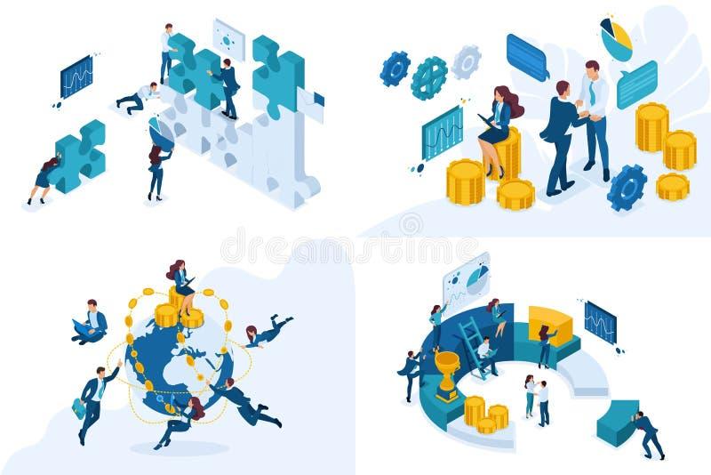 Fastställda isometriska begrepp av den global investeringen, planläggningen och vinstanalys För website och mobil applikationdesi stock illustrationer