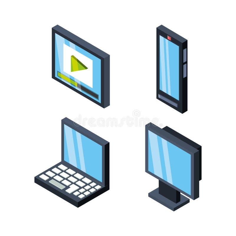 Fastställda isometriska hjälpmedel för kommunikationsteknologi stock illustrationer