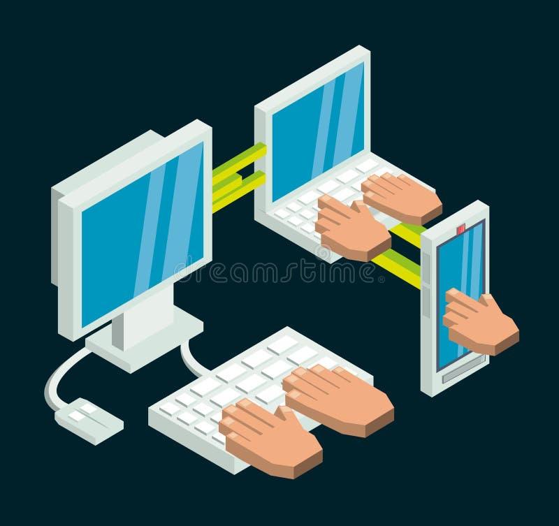 Fastställda isometriska hjälpmedel för kommunikationsteknologi royaltyfri illustrationer