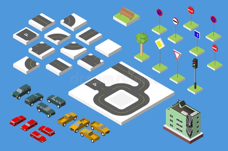 Fastställda isometriska reglerande väg- och vektorbilar, gemensam vägtrafik och att bygga med fönster och att betinga för luft Ve royaltyfri bild