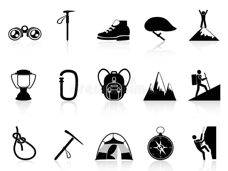 Fastställda klättringbergsymboler stock illustrationer