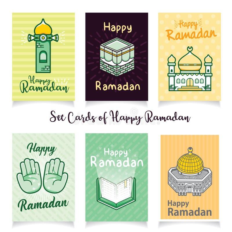 Fastställda kort av den lyckliga ramadan illustrationen stock illustrationer