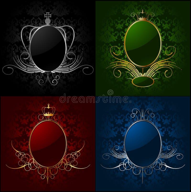 Fastställda kungliga bakgrunder med inramar. Vektor royaltyfri illustrationer