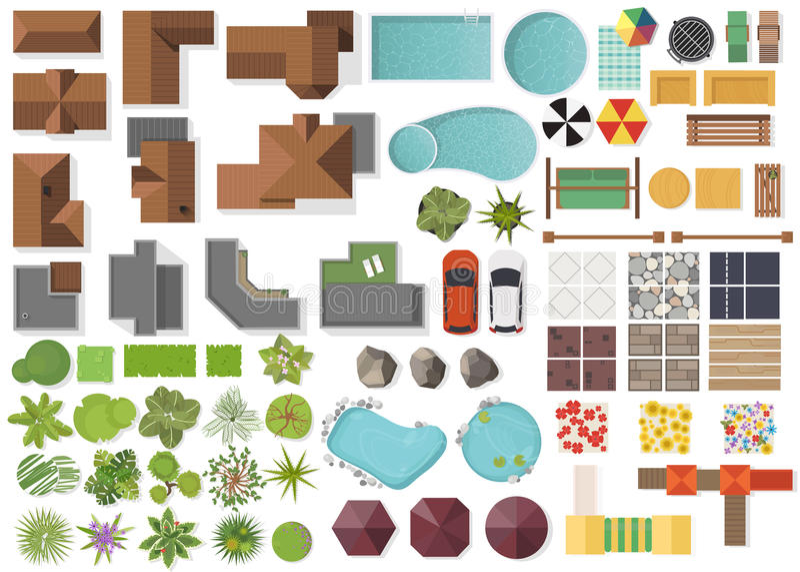 Fastställda landskapbeståndsdelar, bästa sikt Hus trädgård, träd, sjö, simbassänger, bänk, tabell Landskap symboluppsättningen so royaltyfri illustrationer