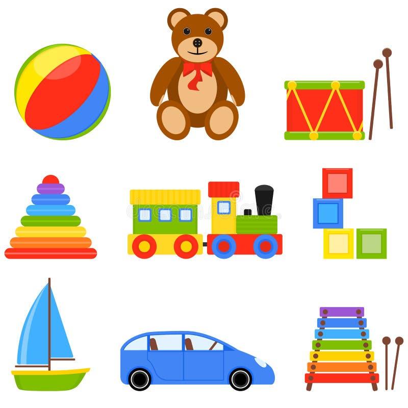 Fastställda leksaker för symbol royaltyfri illustrationer