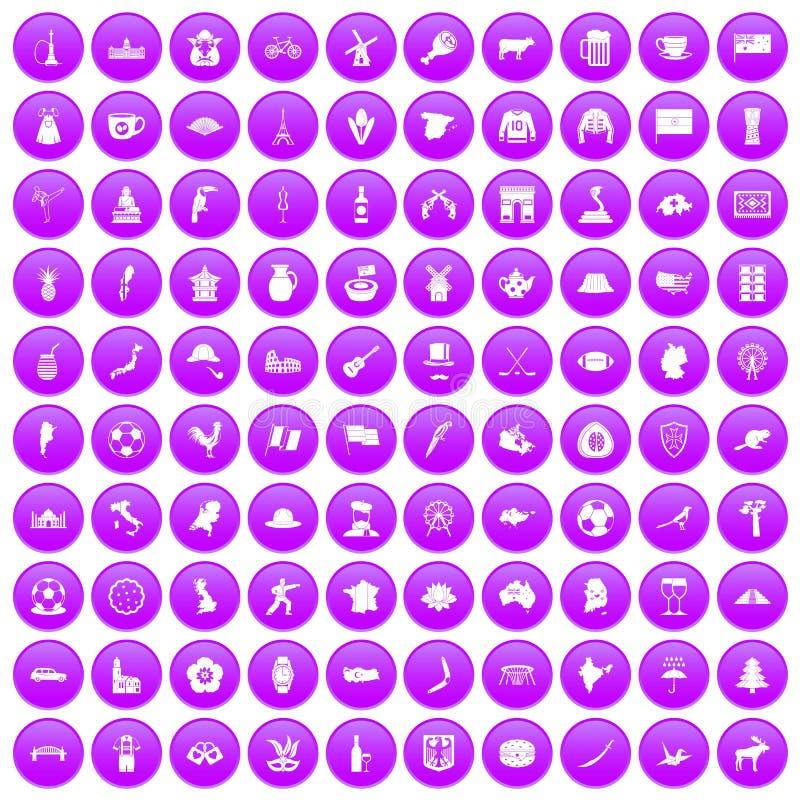 100 fastställda lilor för översiktssymboler stock illustrationer