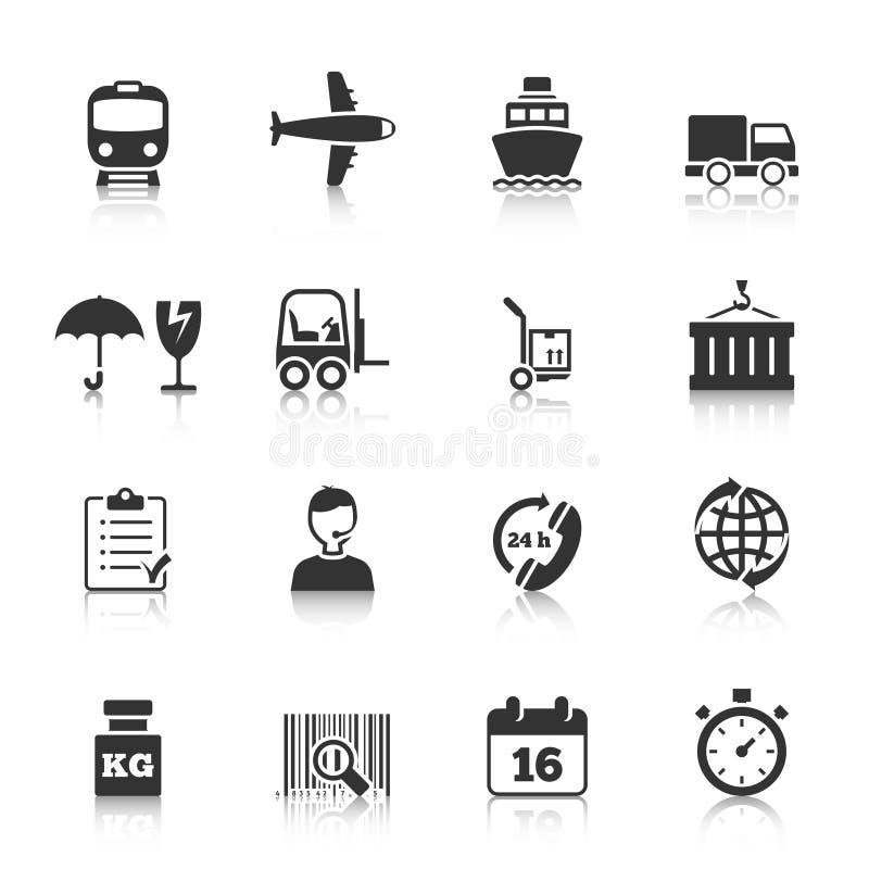 Fastställda logistiksymboler royaltyfri illustrationer