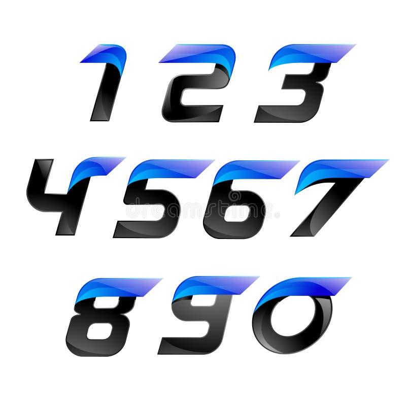 Fastställda logoblått för nummer och svartfärg med linjer för snabb hastighet stock illustrationer