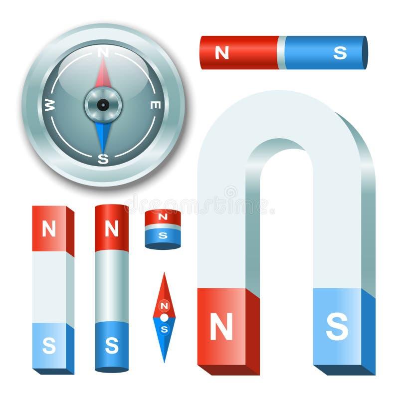 Fastställda magneter för vektor med kompasset royaltyfri illustrationer