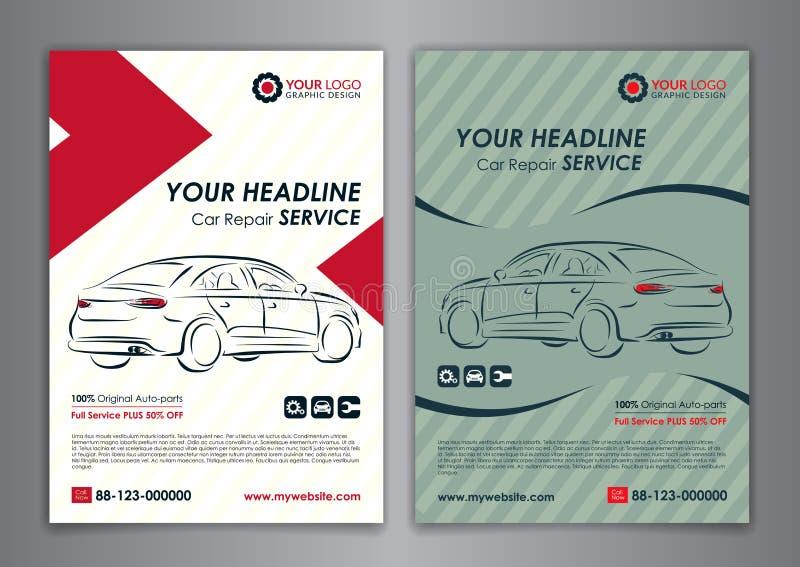 A5 fastställda mallar för orientering för tjänste- affär för reparation för bil A4, biltidskrifträkning vektor illustrationer