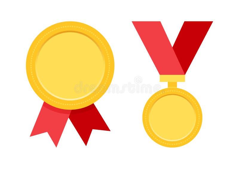 Fastställda medaljer med det röda bandet också vektor för coreldrawillustration royaltyfri illustrationer