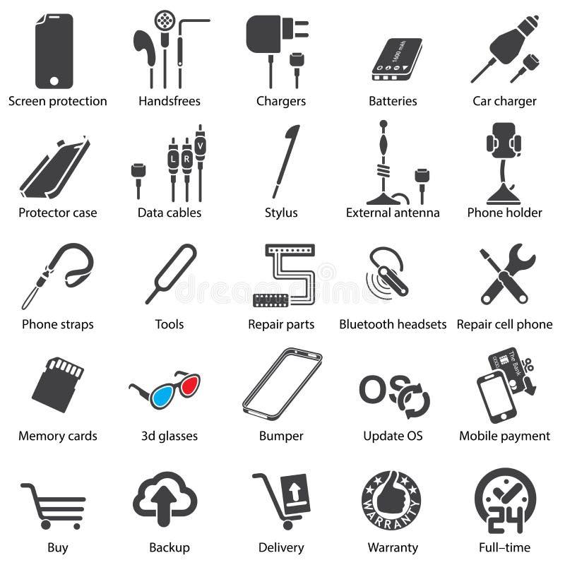Fastställda mobila serviserengöringsduksymboler stock illustrationer
