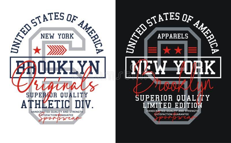 Fastställda nummer, New York, Brooklyn typografidesign, Förenta staterna stil, vektorer royaltyfri illustrationer