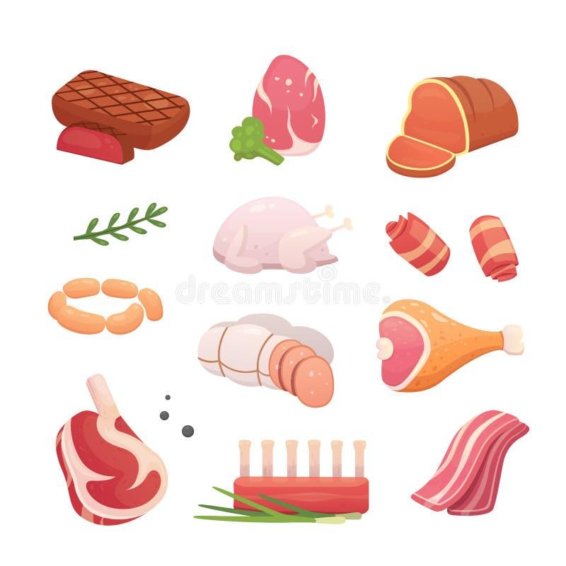 Fastställda nya köttprodukter Biff i tecknad filmstil Vektor isolerad illustrationnötköttbiff, grisköttkorv, skinka, baconskiva stock illustrationer