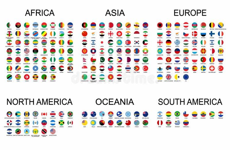 Fastställda officiella nationsflaggor för vektor av världen Sjunker rund form för landet samlingen med detaljerade emblem stock illustrationer