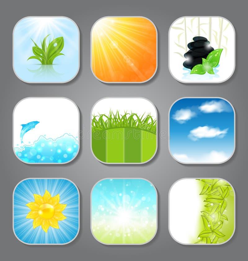 Fastställda olika bakgrunder för app-symbolerna stock illustrationer