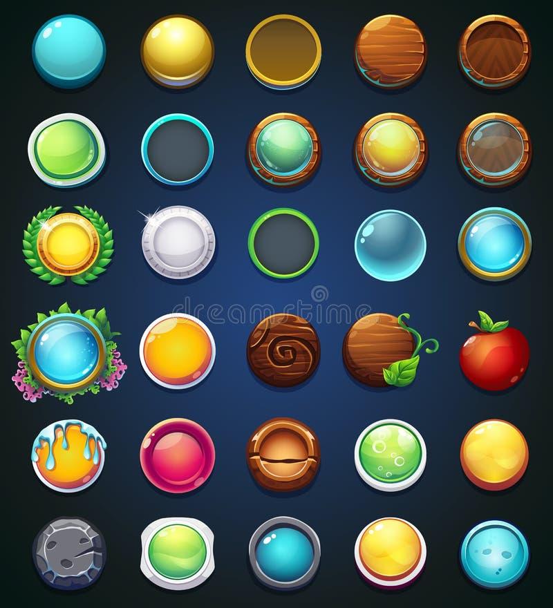Fastställda olika knappar för website eller app royaltyfri illustrationer