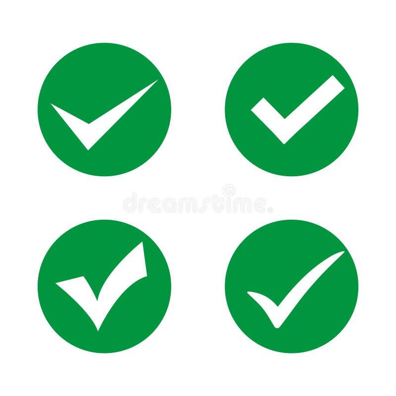 Fastställda olika kontrollfläckar eller tychks Ticka i en cirkel på en vit bakgrund stock illustrationer
