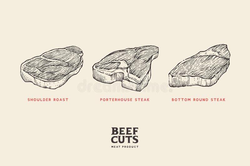 Fastställda olika snitt av kött: knuffa stek, porterhousebiff, nedersta rund biff vektor illustrationer